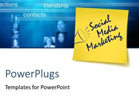 PowerPlugs: PowerPoint template with yellow notice tag with text social media marketing over blue and white surface