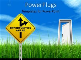 PowerPlugs: PowerPoint template with a yellow Opportunities Ahead Road Sign and open door on Cloud Background