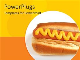PowerPlugs: PowerPoint template with yellow and orange background with hot dog in circle
