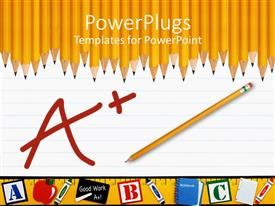 PowerPlugs: PowerPoint template with yellow pencil on paper written A+ with many yellow pencils in background