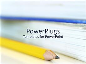 PowerPlugs: PowerPoint template with yellow pencil and textbooks for college students studying education systems