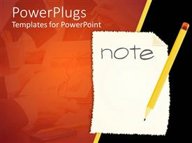PowerPoint template displaying yellow pencil on white paper written Note in orange background