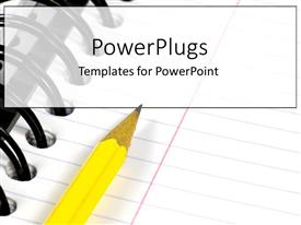 PowerPlugs: PowerPoint template with a yellow pencil writing in a notebook or binder for school or college as a metaphor on a white background
