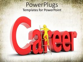 PowerPlugs: PowerPoint template with yellow person climbing ladder with word career in red