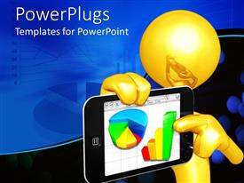 PowerPoint template displaying yellow person pointing to pie and bar graphs on tablet computer, blue graph background