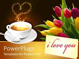 PowerPlugs: PowerPoint template with yellow and pink colored tulips beside a cup of coffee