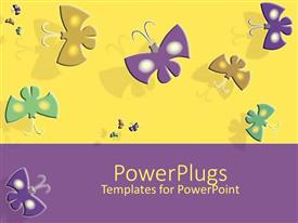 PowerPlugs: PowerPoint template with yellow and purple background with colored jigsaw puzzle pieces