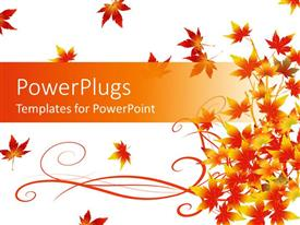 PowerPlugs: PowerPoint template with yellow and red colored summer leaves on white background