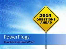PowerPlugs: PowerPoint template with yellow road sign questions ahead with blue sky