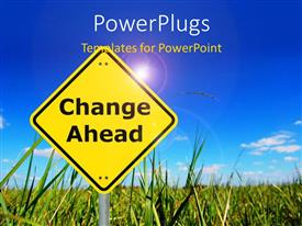 PowerPlugs: PowerPoint template with yellow road sign reads change ahead with grassland and cloudy sky