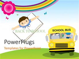 PowerPlugs: PowerPoint template with yellow school bus transporting children to school with kid standing on notebook