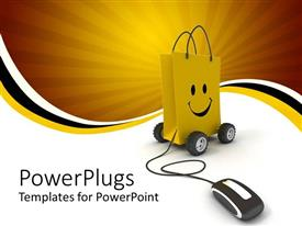PowerPoint template displaying a yellow shoing bag connectd to a wired mouse