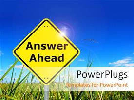 PowerPlugs: PowerPoint template with yellow signpost reads answer ahead on flower field with blue sky