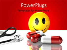 PowerPoint template displaying yellow smiley face standing behind three large red and white pills and stethescope