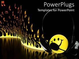 PowerPlugs: PowerPoint template with yellow smiley face wearing a headphone with burning fire background
