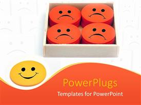 PowerPlugs: PowerPoint template with yellow smiling face next to box filled with orange frowning faces