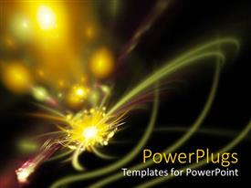 PowerPlugs: PowerPoint template with yellow sparks with light streaks on black background, abstract fractal  space art