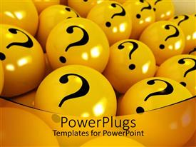 PowerPlugs: PowerPoint template with yellow spheres with black question marks  in yellow background
