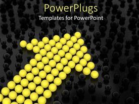 PowerPlugs: PowerPoint template with yellow spheres form cute arrow between other black spheres