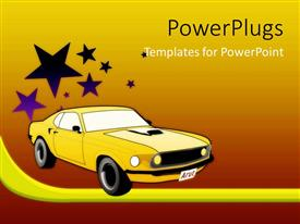 PowerPlugs: PowerPoint template with yellow sport car with stars on gradient red, orange and yellow background
