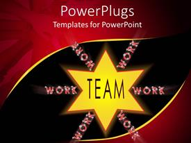 PowerPoint template displaying yellow star with text teamwork and hands placed on each other