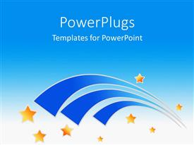 PowerPlugs: PowerPoint template with yellow stars and three blue curves on sky blue background