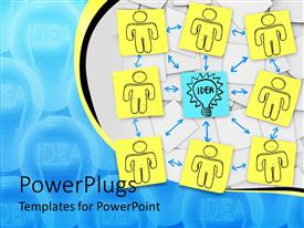 PowerPoint template displaying yellow sticky notes with figure drawing surround blue idea light bulb and arrows showing brainstorming