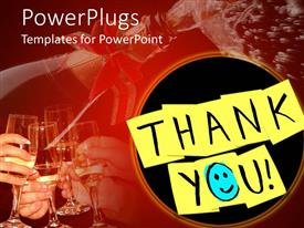 PowerPlugs: PowerPoint template with yellow sticky notes with thank you and blue smiley face instead of o letter with hands holding glasses and making a toast
