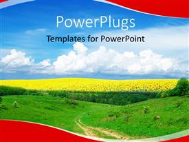 PowerPlugs: PowerPoint template with a landscape view of a plain green field with sun flowers