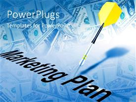 PowerPlugs: PowerPoint template with yellow tailed dart hits marketing plan with dollar bills in background