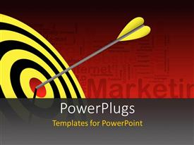 PowerPlugs: PowerPoint template with yellow tailed dart hits red bulls eye of black and yellow target