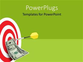 PowerPlugs: PowerPoint template with yellow tailed dart holds ten dollar bill to bulls eye of target