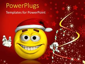 PowerPlugs: PowerPoint template with yellow tired looking smiley face with Santa hat and candy cane next to stars arranged in tree shape