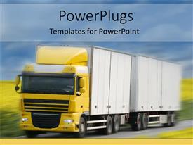 PowerPlugs: PowerPoint template with yellow truck with two tows speeding on a country road