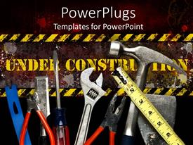 PowerPlugs: PowerPoint template with yellow under construction sign behind tool collection