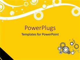 PowerPlugs: PowerPoint template with a yellow, and white colored abstract background with circular designs