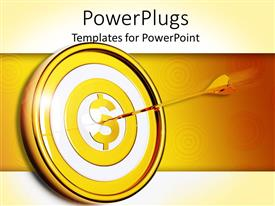 PowerPlugs: PowerPoint template with yellow, white and gold target with yellow dollar sign in the center and gold arrow in the dollar sign's center