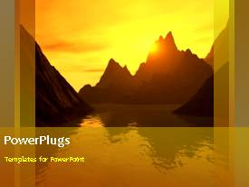 PowerPlugs: PowerPoint template with a yellowish background with a numbe rof mountains