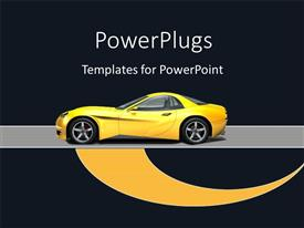 PowerPoint template displaying a yellowish car with a blackish background and place for text