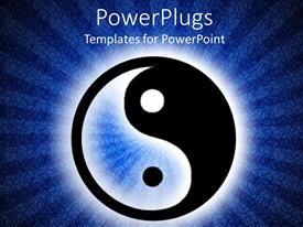 PowerPlugs: PowerPoint template with yin and yang symbol in illuminated dark blue background