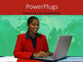 PowerPlugs: PowerPoint template with young African American woman operating laptop with world map in background