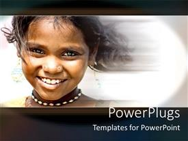 PowerPoint template displaying young African girl smiling happily over a  blurry background