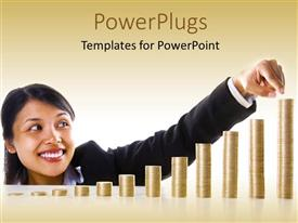 PowerPlugs: PowerPoint template with young Asian lady points to highest bar of bar chart with gold coins