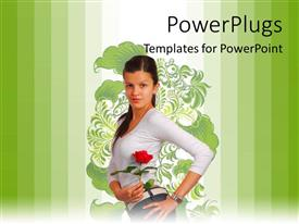 PowerPlugs: PowerPoint template with young beautiful girl posses with rose over floral background and green bars