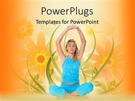 PowerPlugs: PowerPoint template with young blond girl in blue sportswear performing yoga exercise over floral background