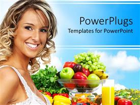 PowerPlugs: PowerPoint template with young blond smiling woman standing next to bowl with mix of fresh fruits and glass of juice, vegetables and fruits for healthy diet