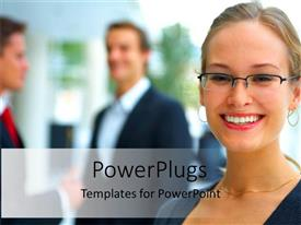 PowerPlugs: PowerPoint template with young blond woman wearing eyeglasses smiling at the camera and two business men talking to each other in the background
