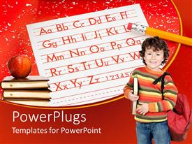 PowerPlugs: PowerPoint template with youngboy dressed for school with letters onpaperand pile ofbooks