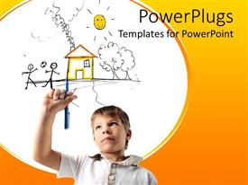 PowerPlugs: PowerPoint template with young boy holding a pen imagining a yellow happy home