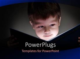 PowerPoint template displaying a young boy reading an open book and smiling